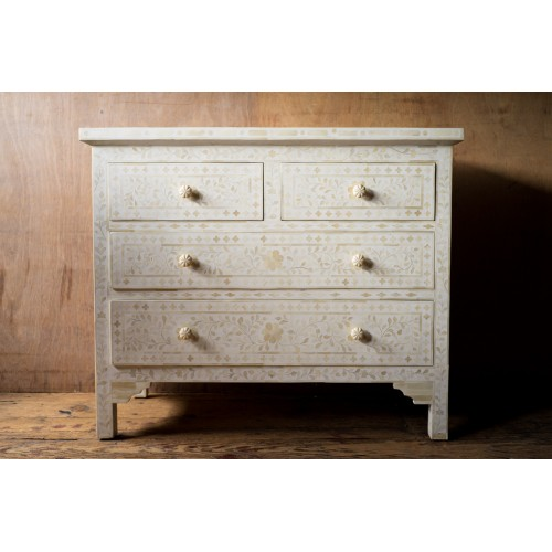 Bone Inlay Floral Chest Of 4 Drawer White