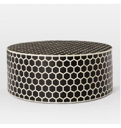 Wooden black and white bone inlay coffee table