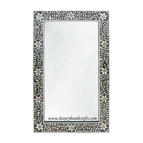 Black Mother Of Pearl Floral Rectangle Mirror