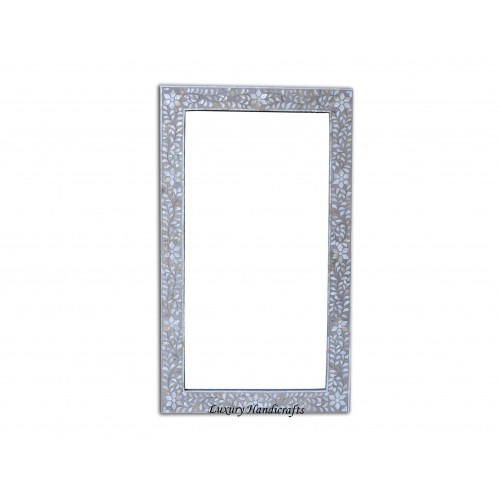 Grey Mother Of Pearl Floral Rectangle Mirror