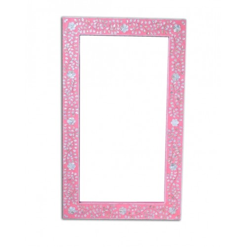 Pink Mother Of Pearl Floral Rectangle Mirror