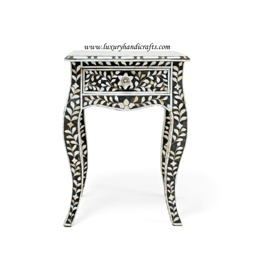 Mother Of Pearl Curved Long Leg Side Table Black