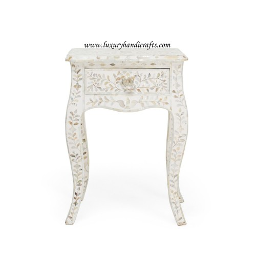 Mother Of Pearl Curved Long Leg Side Table White