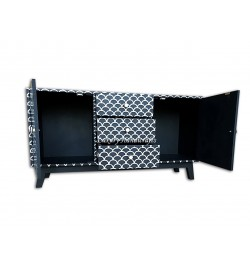 Mother Of Pearl Inlay 2 Door 3 Drawer Fish Scale Buffet Black