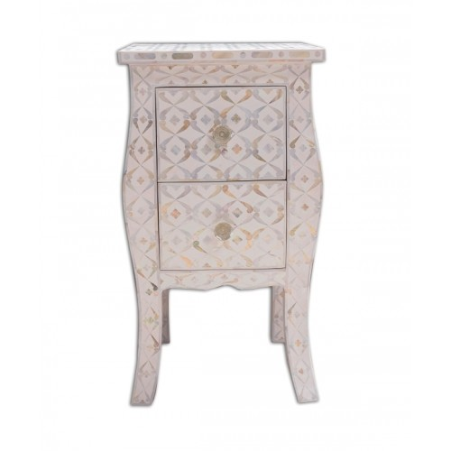 White Mother Of Pearl Inlay Curved 2 Drawer Bedside Quote Design