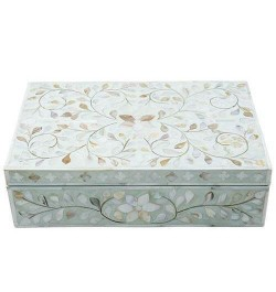 Mother Of Pearl Inlay Floral Box Sage