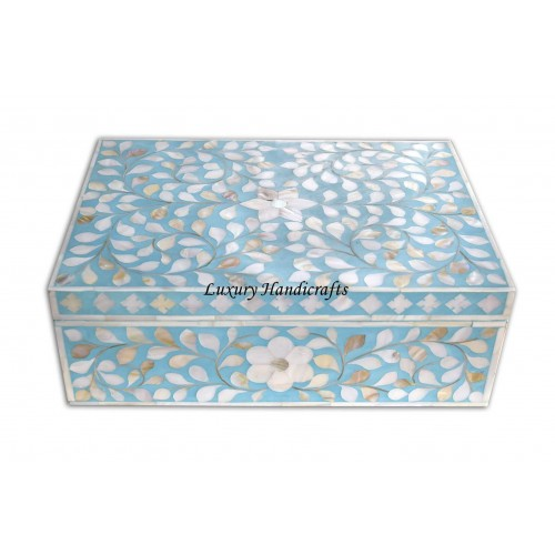 Mother Of Pearl Inlay Floral Box Turquoise