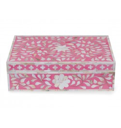 black lacquer jewelry box with mother of pearl inlay