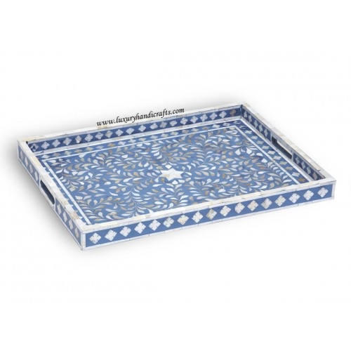 Mother Of Pearl Inlay Floral Rectangular Tray Blue