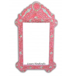 Pink Mother Of Pearl Inlaid Parrot Mirror