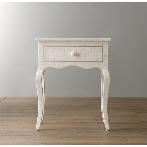 Bone Inlay Floral Curved Long Leg Side Table 1 Drawer White