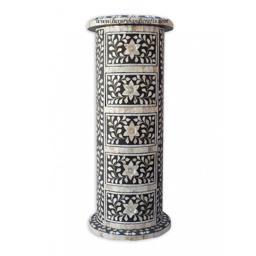 Round Side Table Mother Of Pearl Inlay Floral Design Black