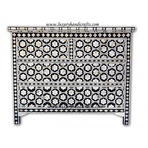 Flower Design Chest Of Four Drawer Mother Of Pearl Inlay Black