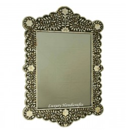 Mother Of Pearl Inlay Scalloped Mirror Black