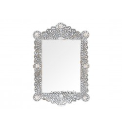 Mother Of Pearl Inlay Scalloped Mirror Grey