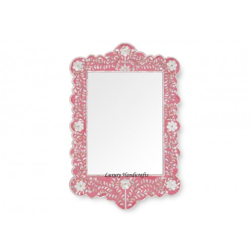 Mother Of Pearl Inlay Scalloped Mirror Pink