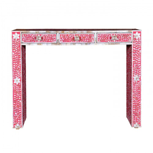 Mother Of Pearl Inlay Floral Console Table Pink