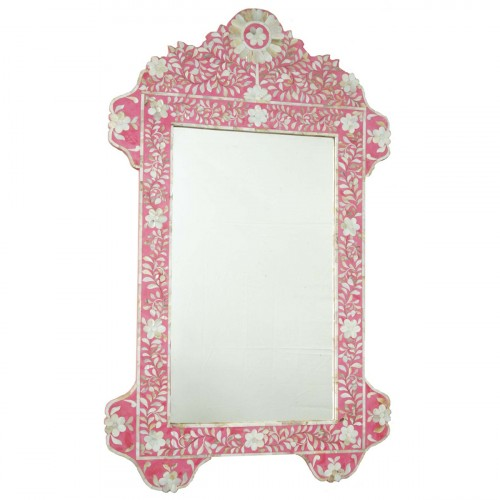 Pink Mother Of Pearl Inlay Floral Circle Mirror
