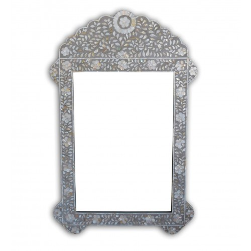 Grey Mother Of Pearl Inlay Floral Circle Mirror