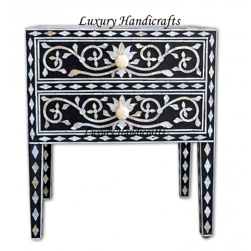 Mother Of Pearl Inlay Bedside 2 Drawer Lotus Design