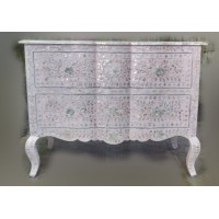 Mother Of Pearl Inlay Chest 2 Curved Drawer Floral Design Light Pink
