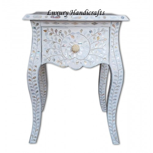 White Mother Of Pearl Inlay French Bedside 1 Drawer Floral Design