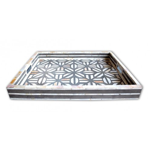 Mother Of Pearl Inlay Cross Design Tray Grey