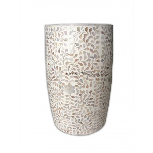White Mother Of Pearl Drum Floral Side Table