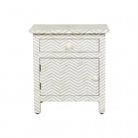 Bone Inlay Chevron Zigzag Bedside Grey