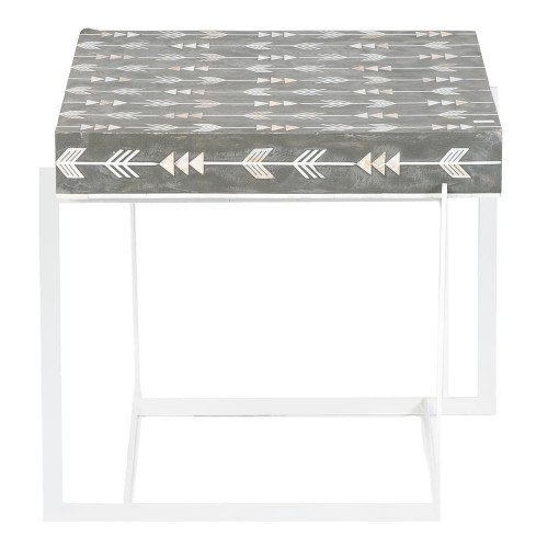 Mother Of Pearl Inlay Arrow Side Table Grey