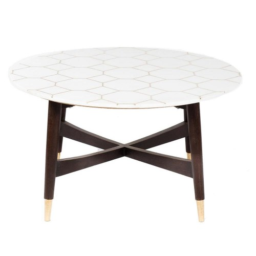 Honeycomb Brass Inlay White Marble Coffee Table