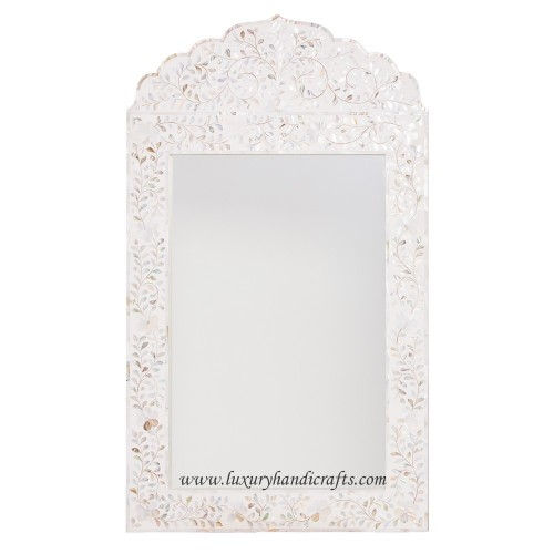 Mother Of Pearl Inlay Floral Crested Mirror White