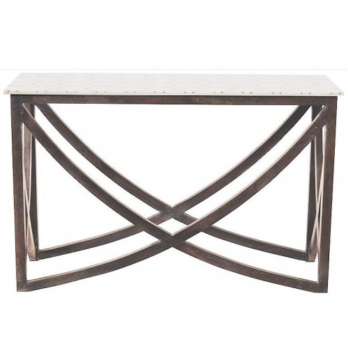 White Marble And Honeycomb Brass Inlay Console