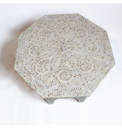 MOP Inlay Floral Octagonal Coffee Table Beige