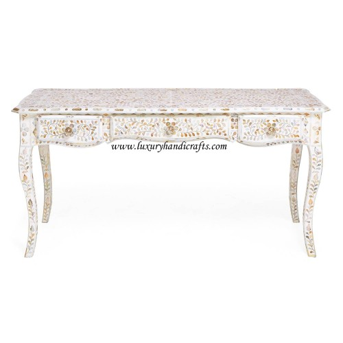 Mother Of Pearl Inlaid Long Curved Leg Desk White