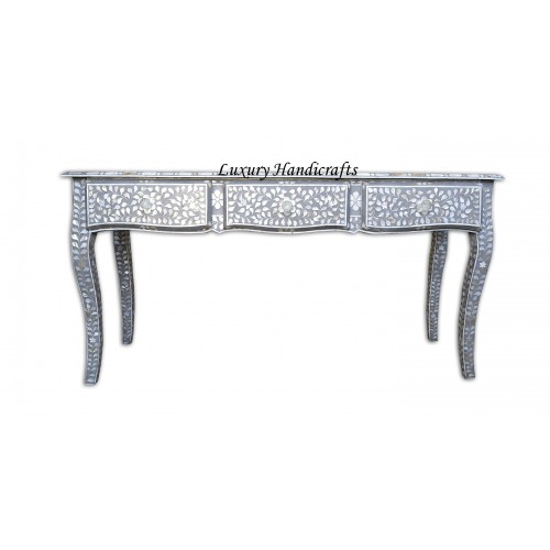 Mother Of Pearl Inlaid Long Curved Leg Desk Grey