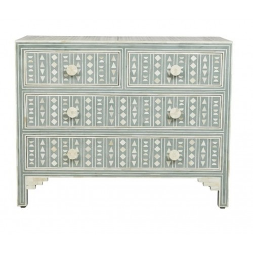 Bone Inlay Chest of 4 Drawers Tribal Design Dull Lime