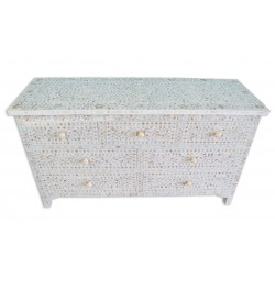 White Mother Of Pearl Inlay Chest Of 7 Drawers Large
