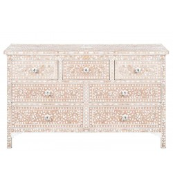 Pale Pink Mother Of Pearl Inlay Chest Of 7 Drawers