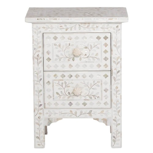 Mother Of Pearl Inlay Floral 2 Drawer Bedside White
