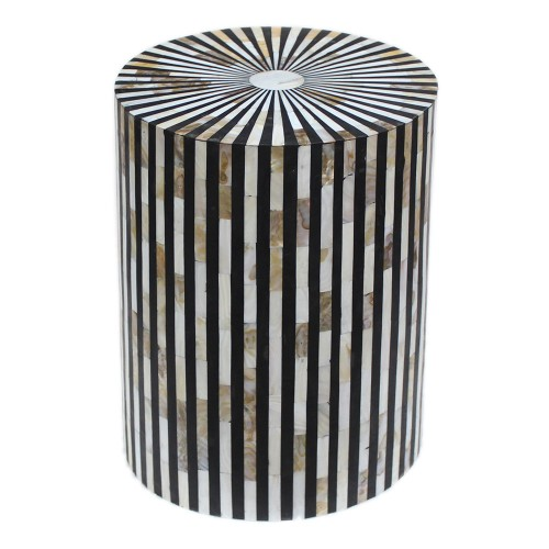 Mother Of Pearl Inlay Stripe Side Table Black