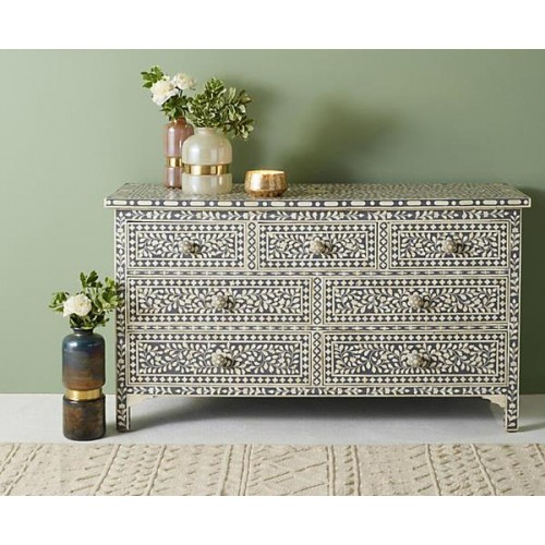 Bone Inlay Floral Chest Of 7 Drawers Grey