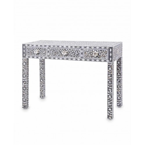Grey Mother Of Pearl Inlay Floral 3 Drawer Console Table