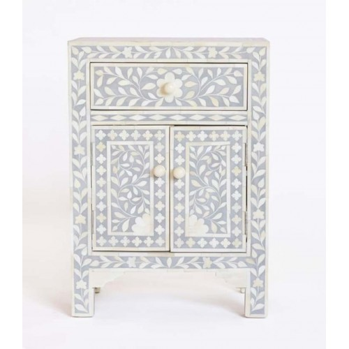 Bone Inlay Floral One Drawer Two Door Bedside Table Grey