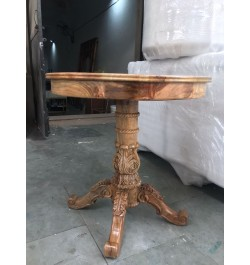 Bone Inlaid Round Dining Table Natural Brown