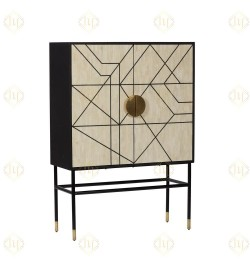 Bone Inlay small corner bar cabinet