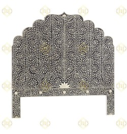 Floral Bone Inlay Headboard Black