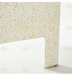 Floral Bone Inlay Headboard White