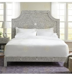 Floral Bone Inlay King Bed In Grey