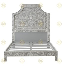 Floral Bone Inlay Queen Bed In Grey
